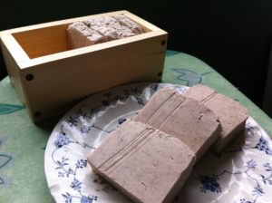 Homemade soap and soap box.